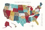 Colorful USA Map Plakater av Michael Mullan
