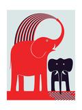 Red Elephant Giclée-tryk af Greg Mably