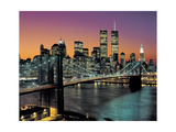 Top View, Brooklyn Bridge in Color - New York City Skyline at Night Photographic Print by Henri Silberman