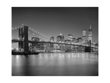 Brooklyn Bridge at Night 1 - New York City Landmarks Photographic Print by Henri Silberman