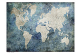 World Map Blue Kunst van Jane Fox