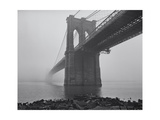 Brooklyn Bridge, Fog, Birds - View from Brooklyn Photographic Print by Henri Silberman