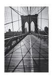 On the Brooklyn Bridge, Shadows - New York City Icon Fotografisk tryk af Henri Silberman