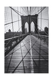 On the Brooklyn Bridge, Shadows - New York City Icon Photographic Print by Henri Silberman