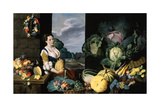 Cookmaid with Still Life of Vegetables and Fruit Giclée-tryk af Sir Nathaniel Bacon