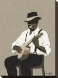 Banjo Player Opspændt lærredstryk af William Buffett
