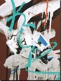 Aqua Tag 1 Stretched Canvas Print by Jenny Kraft
