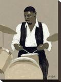 Jazz Drummer Opspændt lærredstryk af William Buffett