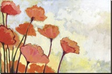 Poppies in Cream Stretched Canvas Print by Jennifer Lommers