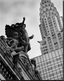 Mercury Statue and Chrysler Building Stretched Canvas Print by Chris Bliss