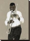 Trombone Player Opspændt lærredstryk af William Buffett
