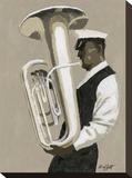 Tuba Player Opspændt lærredstryk af William Buffett