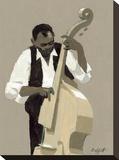 String Bass Player Opspændt lærredstryk af William Buffett