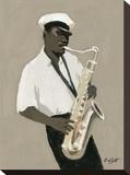 Tenor Saxophone Player Opspændt lærredstryk af William Buffett