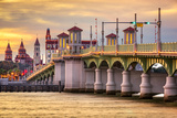 St. Augustine, Florida, USA City Skyline and Bridge of Lions. Stretched Canvas Print by  SeanPavonePhoto