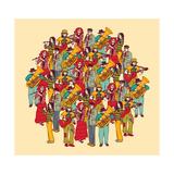 Big Group Musicians Band Orchestra Color Kunst af  Karrr