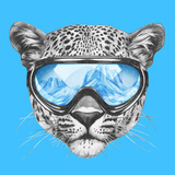 Portrait of Leopard with Ski Goggles. Hand Drawn Illustration. Posters by  victoria_novak