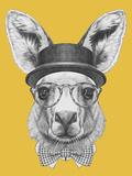 Portrait of Kangaroo with Hat, Glasses and Bow Tie. Hand Drawn Illustration. Láminas por  victoria_novak