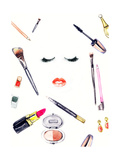 Make up Products.Woman Face. Watercolor Illustration Prints by Anna Ismagilova