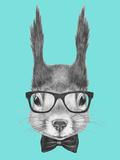Portrait of Squirrel with Glasses and Bow Tie . Hand Drawn Illustration. Lámina giclée prémium por  victoria_novak
