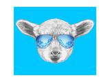 Portrait of Lamb with Mirror Sunglasses. Hand Drawn Illustration. Affiches par  victoria_novak