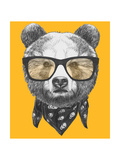 Original Drawing of Bear with Glasses. Isolated on Colored Background Láminas por  victoria_novak