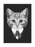 Portrait of Cat in Suit. Hand Drawn Illustration. Posters van  victoria_novak