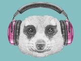 Portrait of Mongoose with Headphones. Hand Drawn Illustration. Lámina giclée prémium por  victoria_novak
