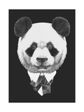 Portrait of Panda in Suit. Hand Drawn Illustration. Posters by  victoria_novak