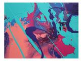 Aqua Splatters Prints by Deb McNaughton