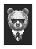 Portrait of Bear in Suit. Hand Drawn Illustration. Print by  victoria_novak
