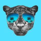 Portrait of Panther with Mirror Sunglasses. Hand Drawn Illustration. Kunst af  victoria_novak