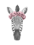 Portrait of Zebra with Floral Head Wreath. Hand Drawn Illustration. Art by  victoria_novak