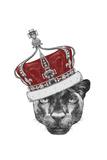 Portrait of Panther with Crown. Hand Drawn Illustration. Poster von  victoria_novak