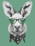 Portrait of Kangaroo with Glasses and Scarf. Hand Drawn Illustration. Pósters por  victoria_novak