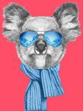 Portrait of Koala with Scarf and Sunglasses. Hand Drawn Illustration. Giclée-Premiumdruck von  victoria_novak