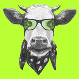 Portrait of Cow with Glasses and Scarf. Hand Drawn Illustration. Print by  victoria_novak
