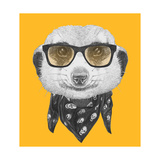 Portrait of Mongoose with Glasses and Scarf. Hand Drawn Illustration. Láminas por  victoria_novak