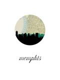 Memphis Map Skyline Posters av PaperFinch
