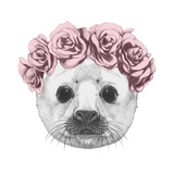 Portrait of Baby Fur Seal with Floral Head Wreath. Hand Drawn Illustration. Pósters por  victoria_novak