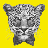 Original Drawing of Leopard with Glasses and Bow Tie. Isolated on Colored Background Poster by  victoria_novak