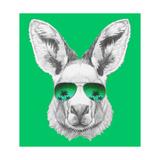 Portrait of Kangaroo with Mirror Sunglasses. Hand Drawn Illustration. Poster af  victoria_novak