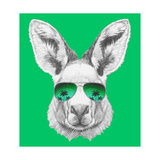 Portrait of Kangaroo with Mirror Sunglasses. Hand Drawn Illustration. Prints by  victoria_novak