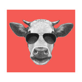 Portrait of Cow. Hand Drawn Illustration. Plakater af  victoria_novak