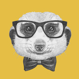 Portrait of Mongoose with Glasses and Bow Tie. Hand Drawn Illustration. Pósters por  victoria_novak