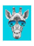 Portrait of Giraffe with Mirror Sunglasses. Hand Drawn Illustration. Prints by  victoria_novak