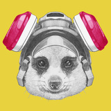 Portrait of Mongoose with Gas Mask. Hand Drawn Illustration. Láminas por  victoria_novak