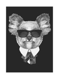 Portrait of Koala Bear in Suit. Hand Drawn Illustration. Láminas por  victoria_novak