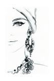 Woman Face. Jewelry and Beauty. Fashion Illustration Art by Anna Ismagilova