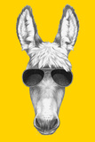 Portrait of Donkey with Sunglasses. Hand Drawn Illustration. Prints by  victoria_novak